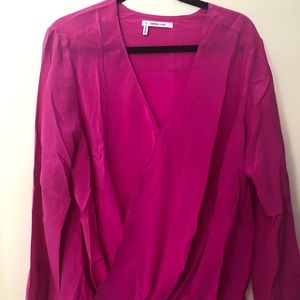 Derek Lam 10 Crosby Silk Wrap Front Top Sz P $398